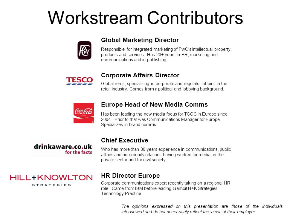 Workstream Contributors Global Marketing Director Responsible for integrated marketing of PwC's intellectual property, products and services. Has 20+