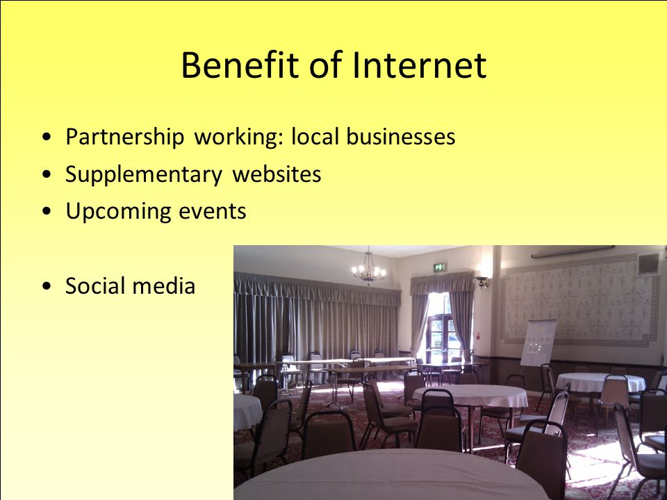 Partnership working: local businesses Supplementary websites Upcoming events Social media