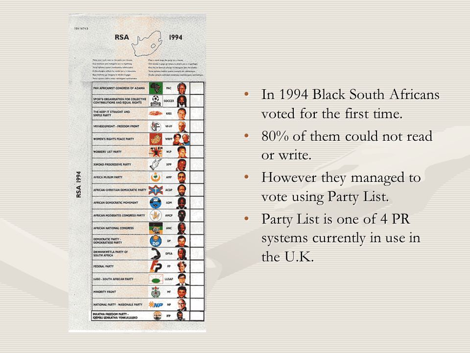 In 1994 Black South Africans voted for the first time.