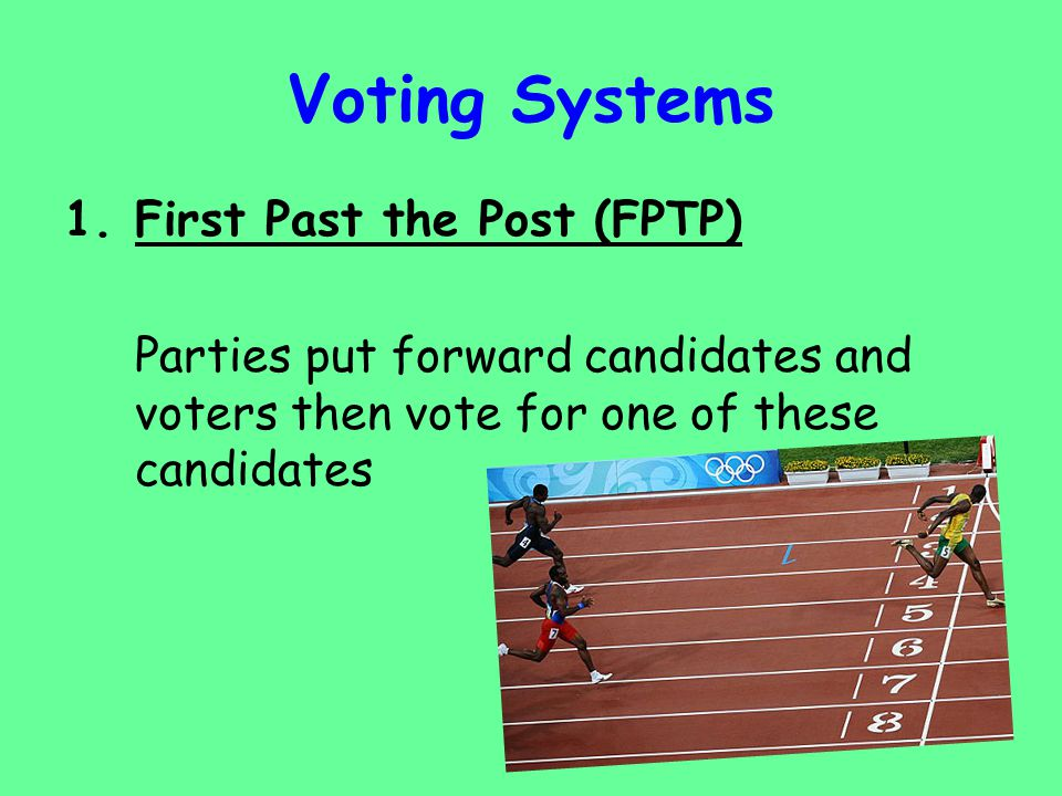 Voting Systems 2.Proportional Representation (PR) This is when the number of votes a party gets = a proportional number of seats