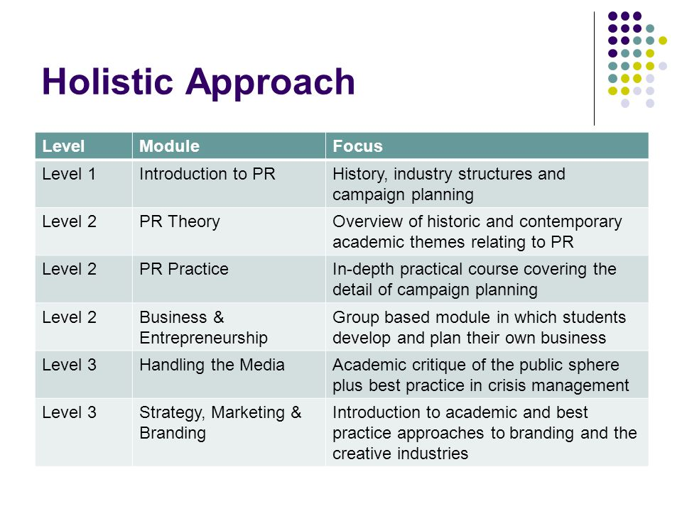 Holistic Approach LevelModuleFocus Level 1Introduction to PRHistory, industry structures and campaign planning Level 2PR TheoryOverview of historic an