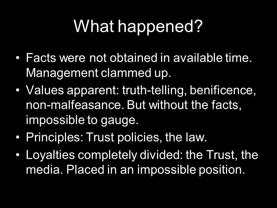What happened. Facts were not obtained in available time.