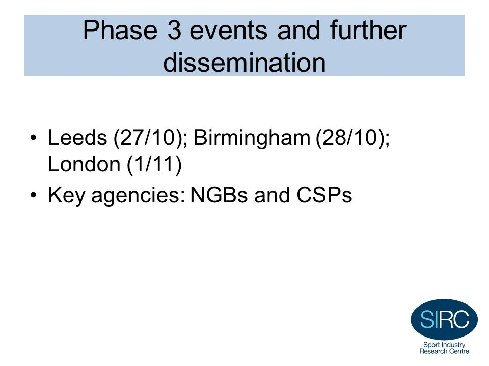 Phase 3 events and further dissemination Leeds (27/10); Birmingham (28/10); London (1/11) Key agencies: NGBs and CSPs