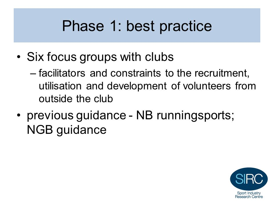 Phase 1: best practice Six focus groups with clubs –facilitators and constraints to the recruitment, utilisation and development of volunteers from ou