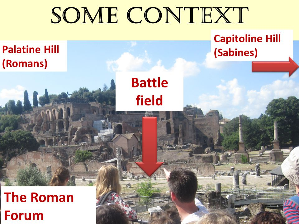 Some context The Roman Forum Palatine Hill (Romans) Capitoline Hill (Sabines) Battle field