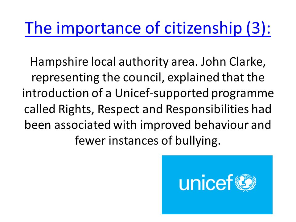 Hampshire local authority area. John Clarke, representing the council, explained that the introduction of a Unicef-supported programme called Rights,