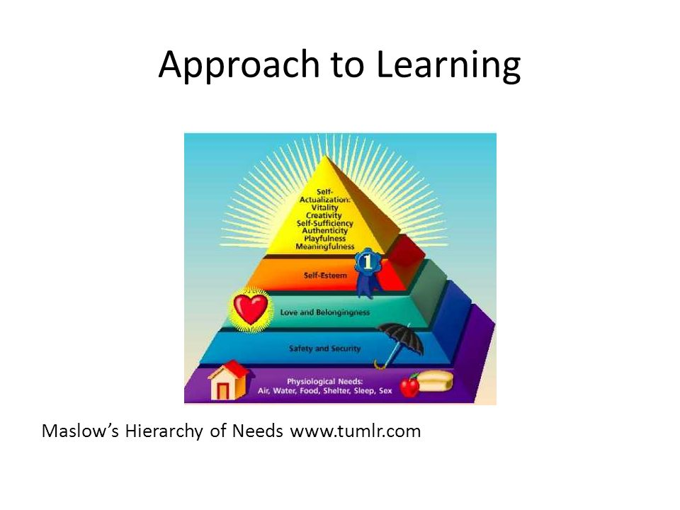Approach to Learning Maslow's Hierarchy of Needs www.tumlr.com