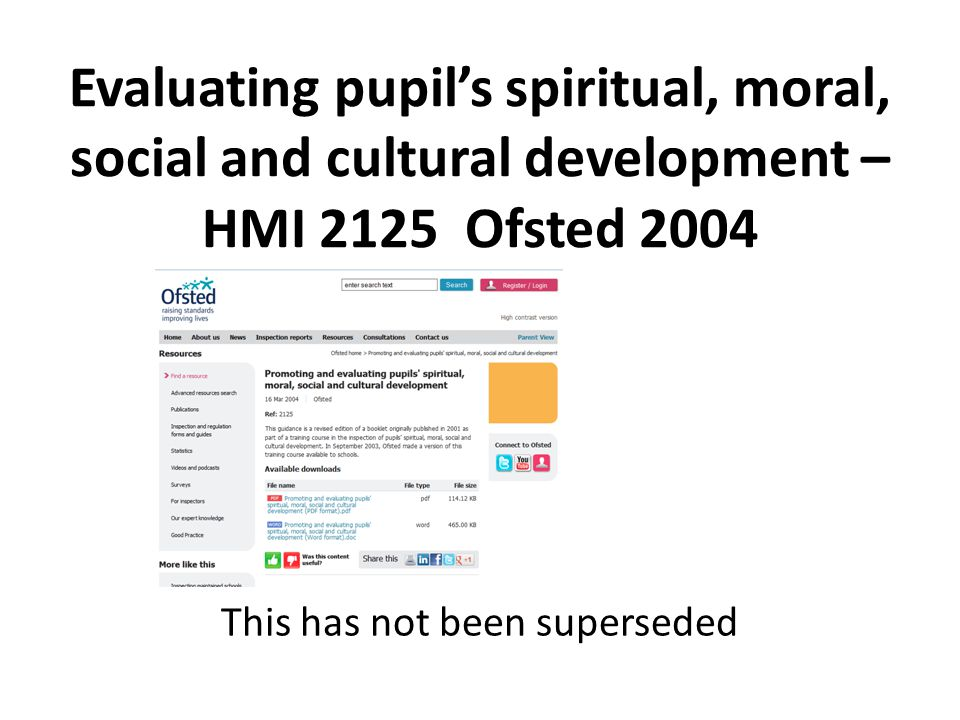 Evaluating pupil's spiritual, moral, social and cultural development – HMI 2125 Ofsted 2004 This has not been superseded