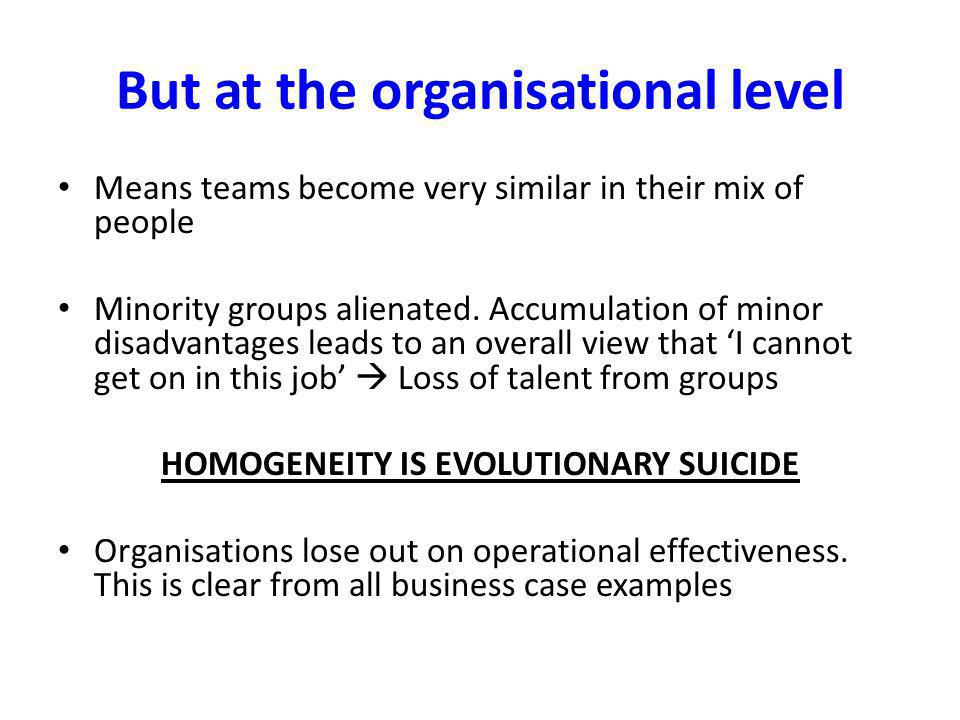 But at the organisational level Means teams become very similar in their mix of people Minority groups alienated.