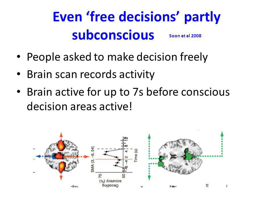 Even 'free decisions' partly subconscious Soon et al 2008 People asked to make decision freely Brain scan records activity Brain active for up to 7s before conscious decision areas active!