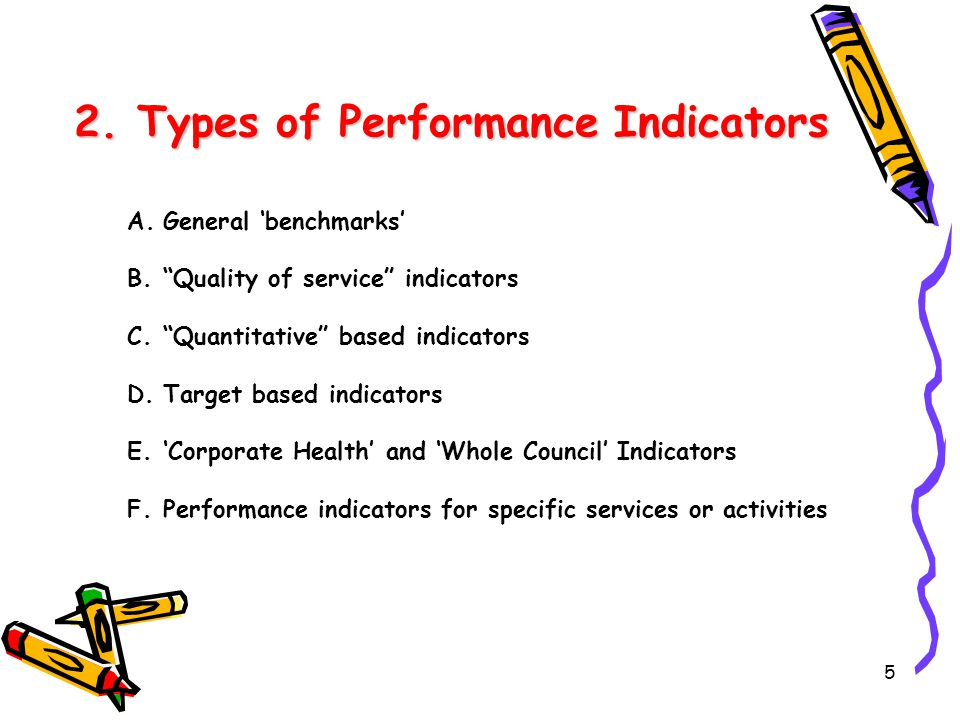 """5 2. Types of Performance Indicators A.General 'benchmarks' B.""""Quality of service"""" indicators C.""""Quantitative"""" based indicators D.Target based indicat"""