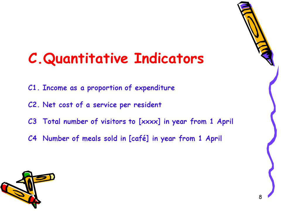 8 C.Quantitative Indicators C1. Income as a proportion of expenditure C2.