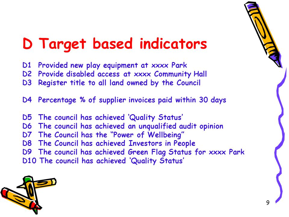 9 D Target based indicators D1 Provided new play equipment at xxxx Park D2 Provide disabled access at xxxx Community Hall D3 Register title to all lan