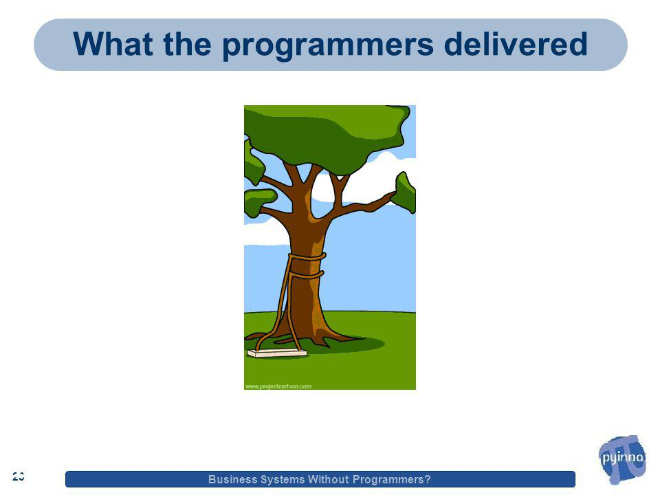 23 Business Systems Without Programmers 23 What the programmers delivered