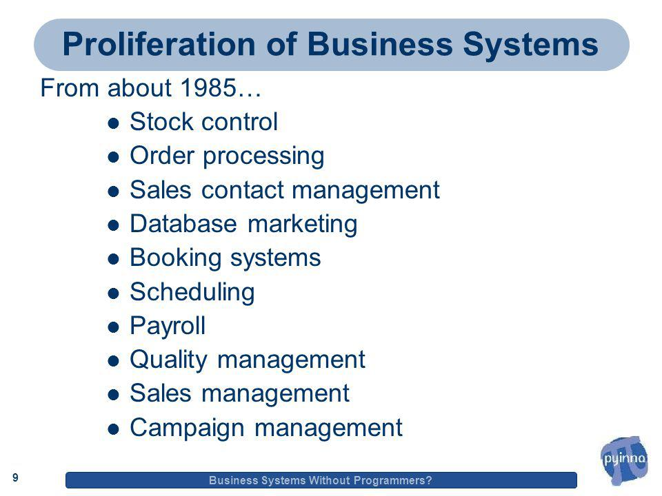 9 Business Systems Without Programmers.