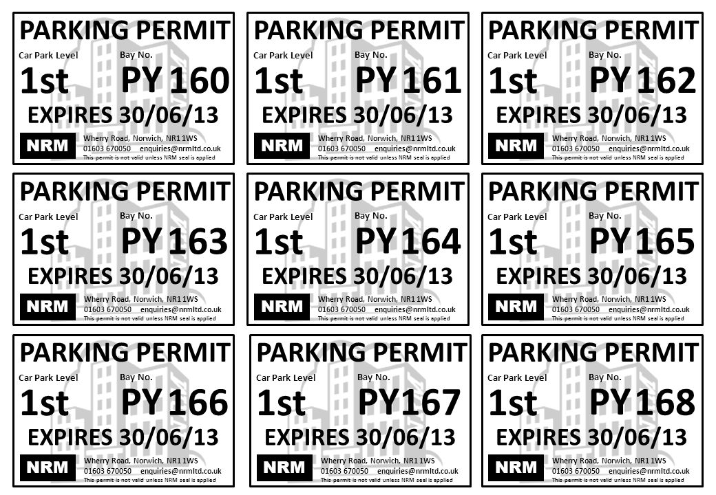 NRM Wherry Road, Norwich, NR1 1WS 01603 670050 enquiries@nrmltd.co.uk This permit is not valid unless NRM seal is applied PARKING PERMIT Bay No.
