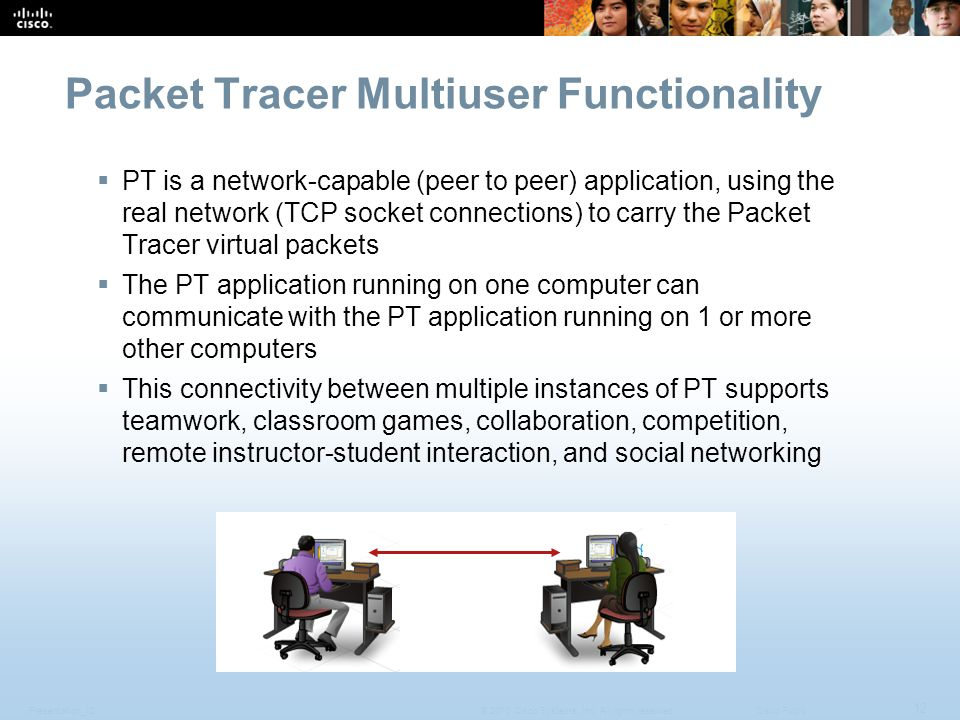 Presentation_ID 12 © 2010 Cisco Systems, Inc. All rights reserved.Cisco Public Packet Tracer Multiuser Functionality  PT is a network-capable (peer t