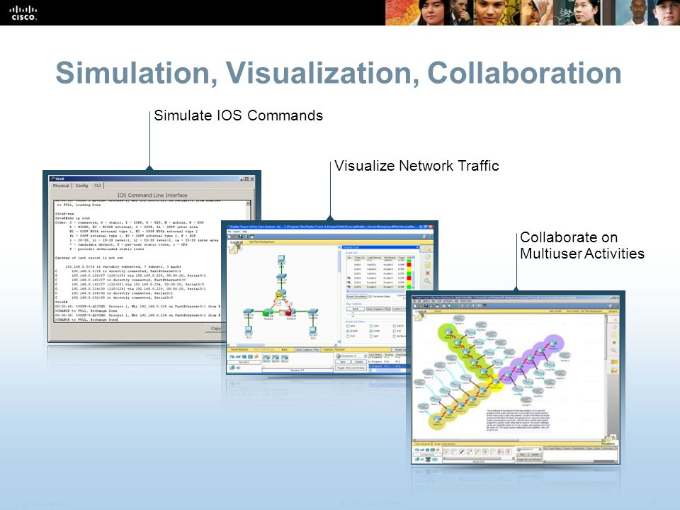 CCNA Overview 8 © 2009 Cisco Systems, Inc. All rights reserved. Cisco Public Simulation, Visualization, Collaboration Simulate IOS Commands Visualize