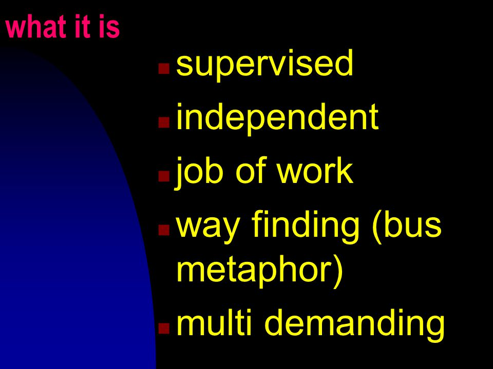 what it is supervised independent job of work way finding (bus metaphor) multi demanding