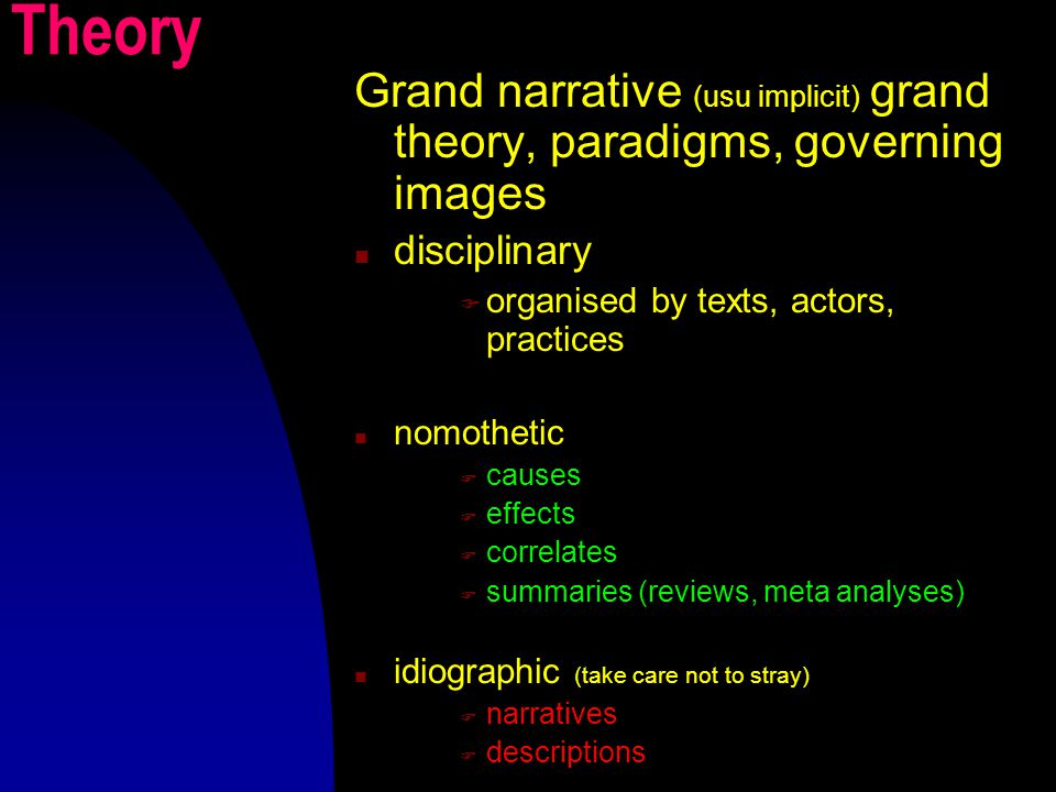 Theory Grand narrative (usu implicit) grand theory, paradigms, governing images disciplinary  organised by texts, actors, practices nomothetic  causes  effects  correlates  summaries (reviews, meta analyses) idiographic (take care not to stray)  narratives  descriptions
