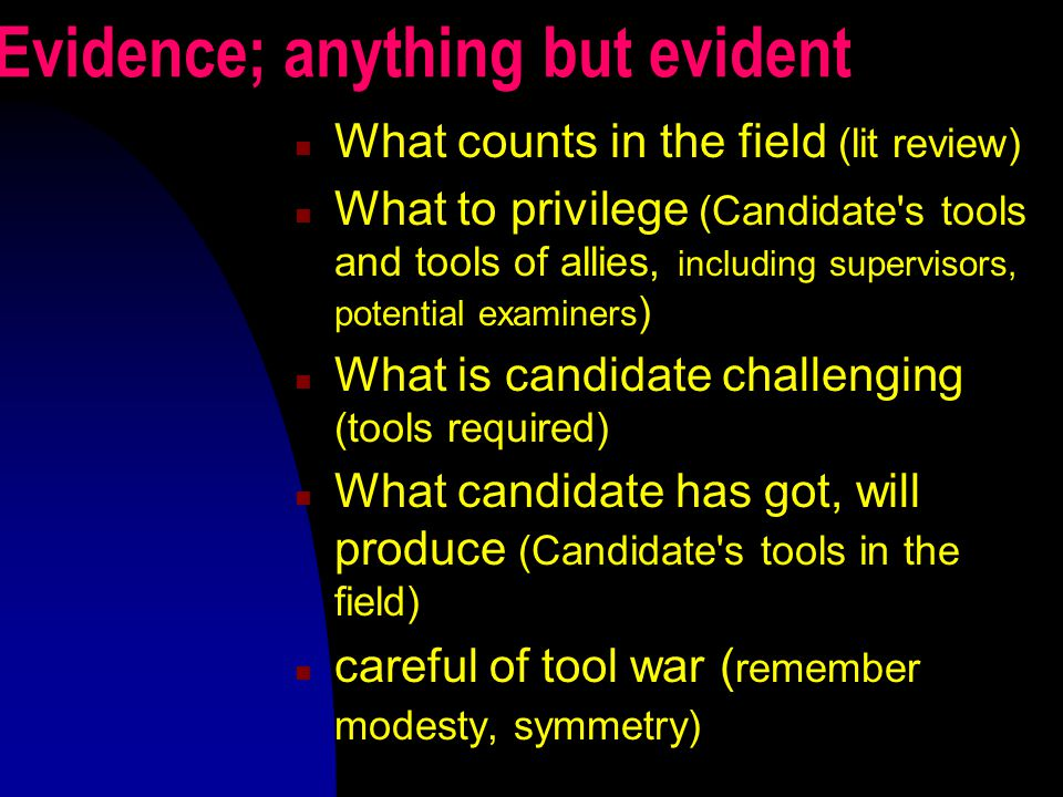 Evidence; anything but evident What counts in the field (lit review) What to privilege (Candidate's tools and tools of allies, including supervisors,