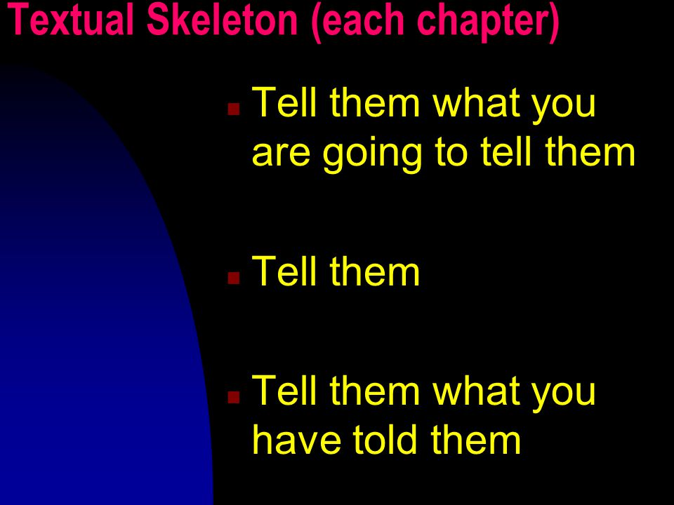 Textual Skeleton (each chapter) Tell them what you are going to tell them Tell them Tell them what you have told them