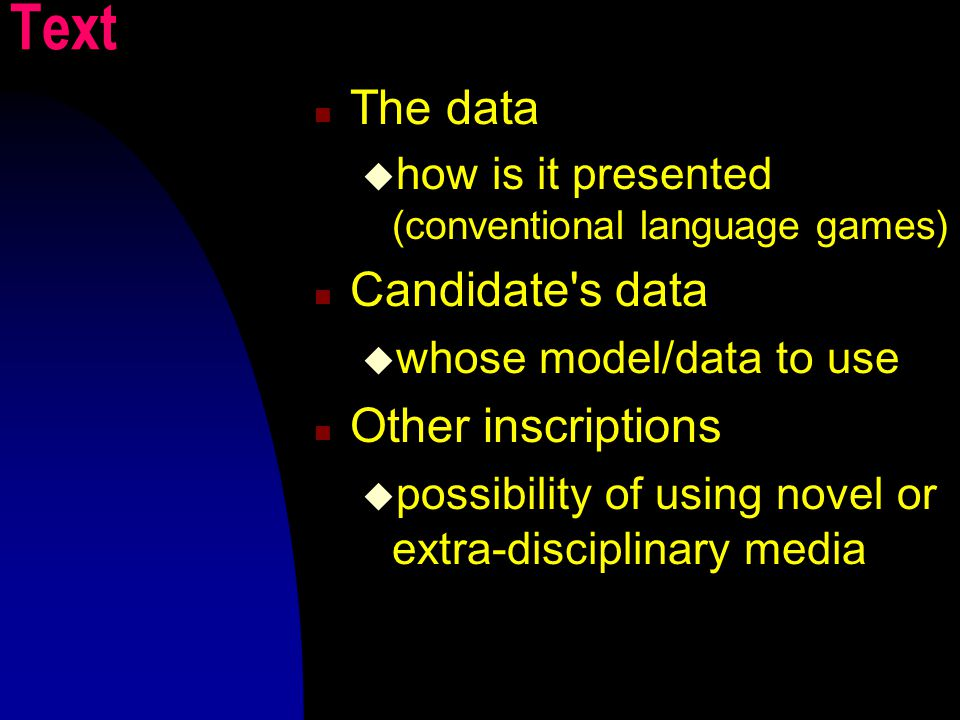 Text The data  how is it presented (conventional language games) Candidate s data  whose model/data to use Other inscriptions  possibility of using novel or extra-disciplinary media