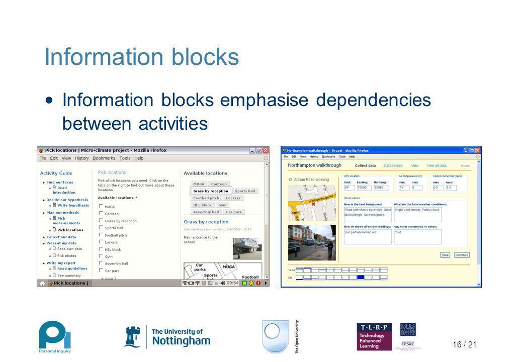 16 / 21 Information blocks Information blocks emphasise dependencies between activities