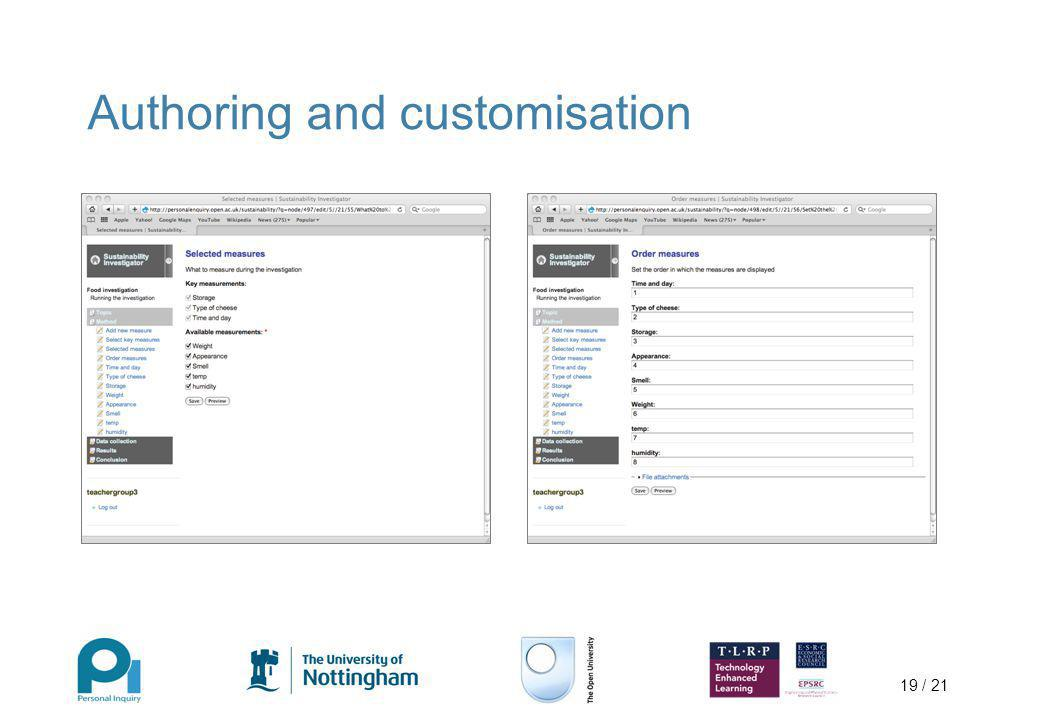 19 / 21 Authoring and customisation