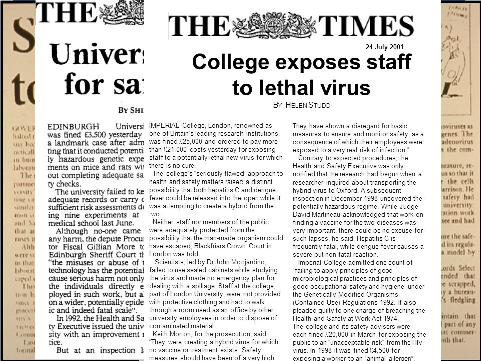 14 February 1999 IMPERIAL College, London, renowned as one of Britain's leading research institutions, was fined £25,000 and ordered to pay more than