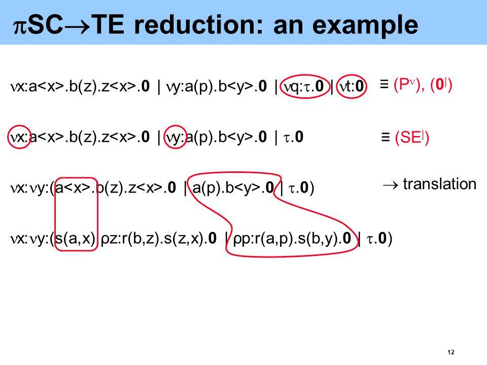 12  SC  TE reduction: an example x:a.b(z).z.0 | y:a(p).b.0 | q: .0 | t:0 x:a.b(z).z.0 | y:a(p).b.0 | .0 x: y:(a.b(z).z.0 | a(p).b.0 | .0) x: y:(s(a,x).ρz:r(b,z).s(z,x).0 | ρp:r(a,p).s(b,y).0 | .0) ≡ (SE | ) ≡ (P ), (0 | )  translation