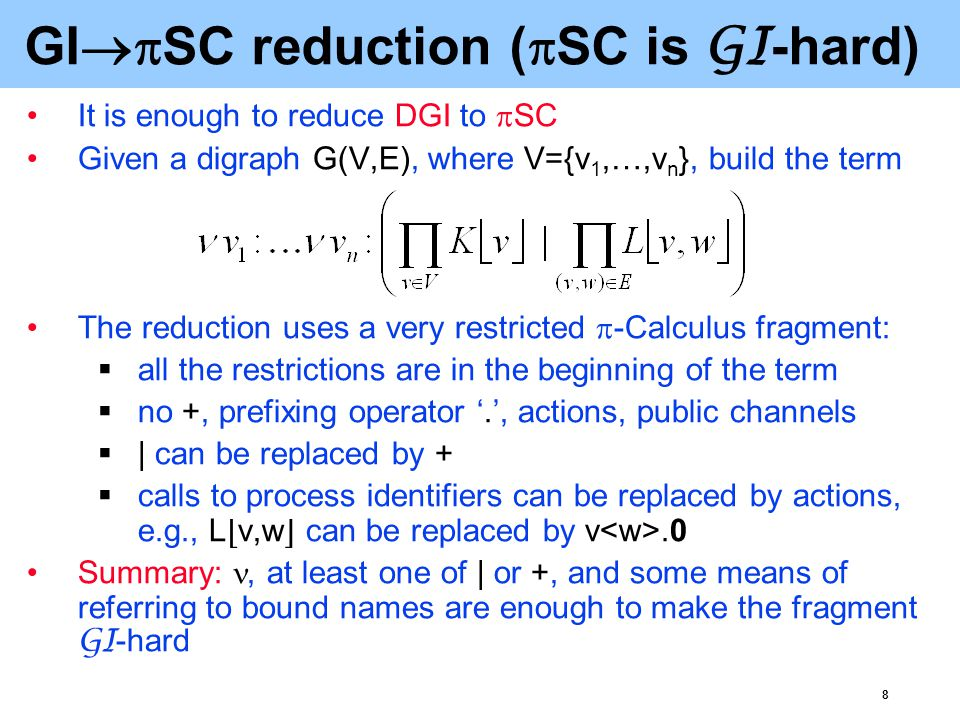8 GI  SC reduction (  SC is GI -hard) It is enough to reduce DGI to  SC Given a digraph G(V,E), where V={v 1,…,v n }, build the term The reduction uses a very restricted  -Calculus fragment:  all the restrictions are in the beginning of the term  no +, prefixing operator '.', actions, public channels  | can be replaced by +  calls to process identifiers can be replaced by actions, e.g., L ⌊ v,w ⌋ can be replaced by v.0 Summary:, at least one of | or +, and some means of referring to bound names are enough to make the fragment GI -hard