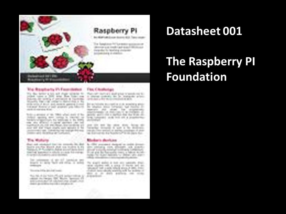 Datasheet 001 The Raspberry PI Foundation