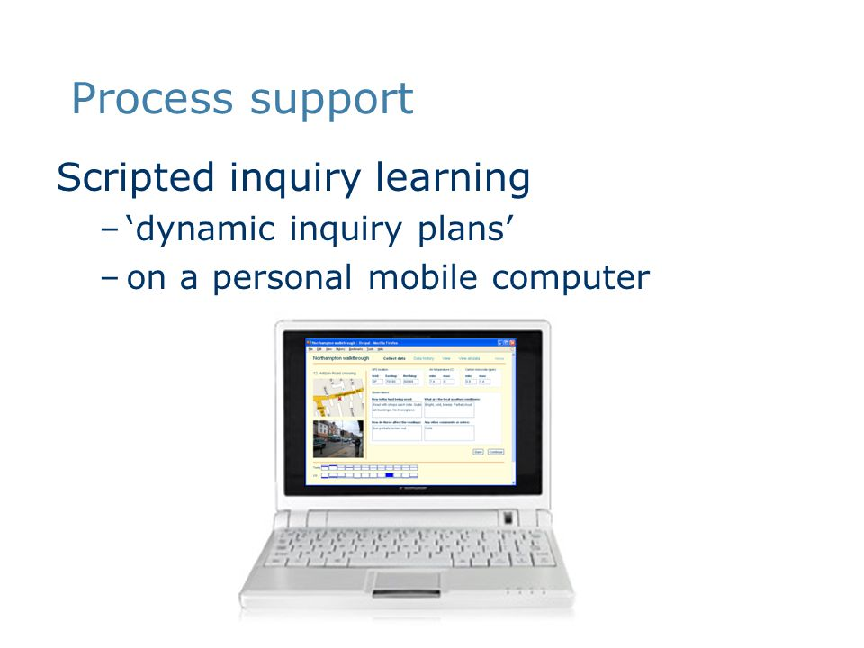 Scripted inquiry learning –'dynamic inquiry plans' –on a personal mobile computer Process support