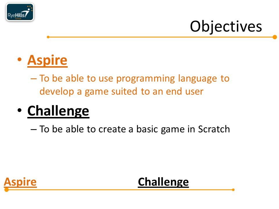Aspire Challenge Aspire – To be able to use programming language to develop a game suited to an end user Challenge – To be able to create a basic game in Scratch Objectives