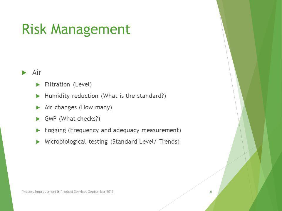 Risk Management  Cleaning Routine  Frequency  Standards  Chemicals  Microbiological testing Process Improvement & Product Services September 20137