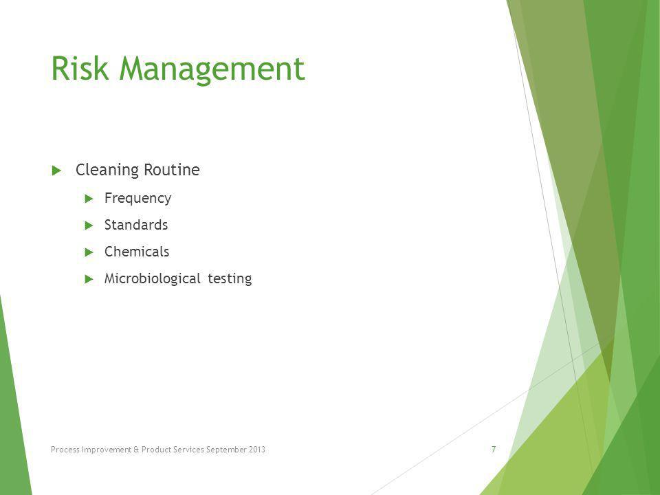 Risk Management  Post Process Contamination  Connection Manipulation  Equipment storage  Equipment condition  Manipulation during filling  Manipulation during testing  Customer manipulation Process Improvement & Product Services September 20138