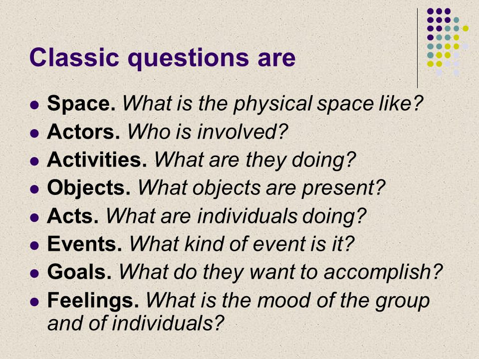 Classic questions are Space. What is the physical space like.