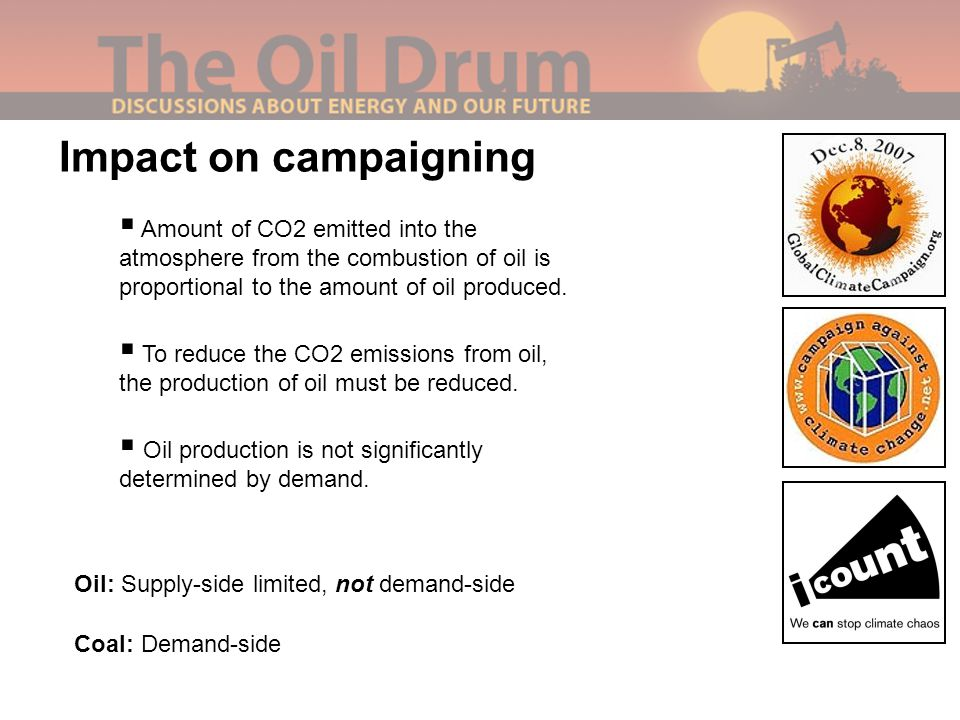 Impact on campaigning Oil: Supply-side limited, not demand-side Coal: Demand-side  Amount of CO2 emitted into the atmosphere from the combustion of oil is proportional to the amount of oil produced.