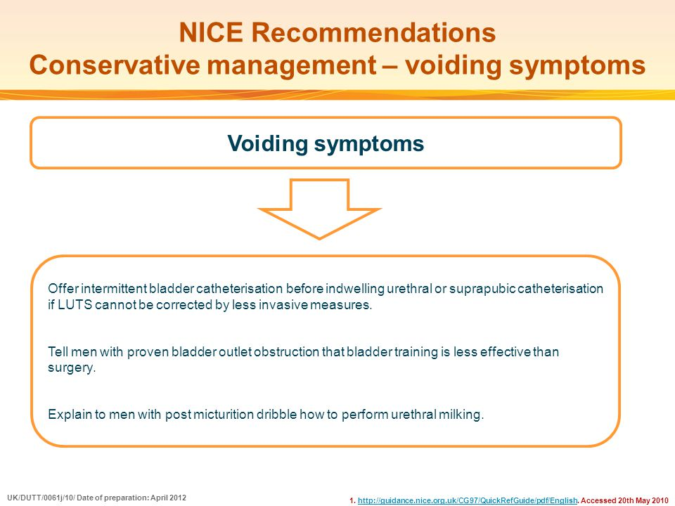 NICE Recommendations Conservative management – voiding symptoms 1. http://guidance.nice.org.uk/CG97/QuickRefGuide/pdf/English. Accessed 20th May 2010h