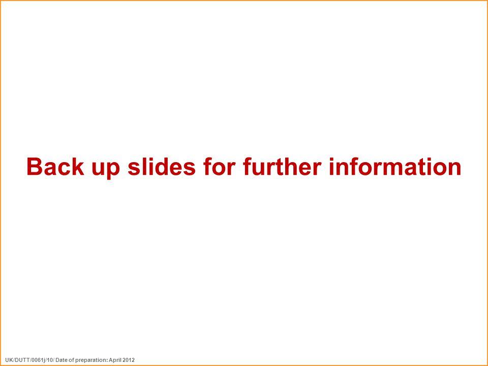 Back up slides for further information UK/DUTT/0061j/10/ Date of preparation: April 2012