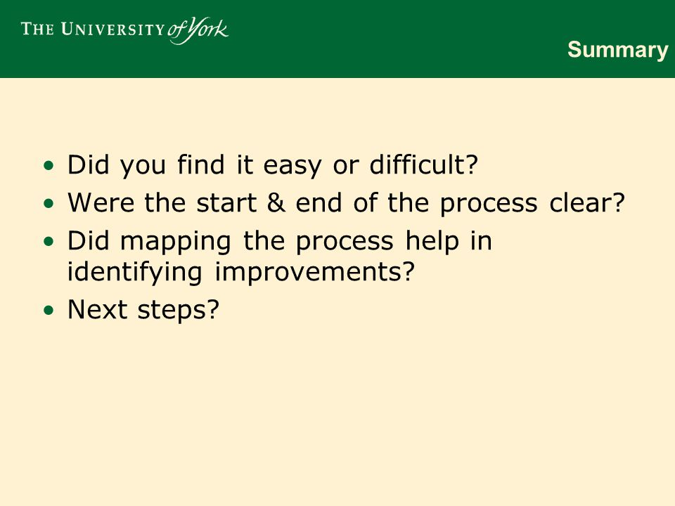 Summary Did you find it easy or difficult.Were the start & end of the process clear.