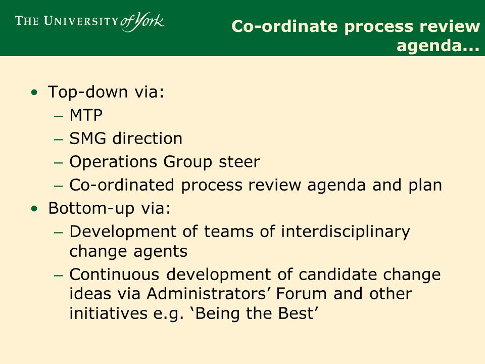 Co-ordinate process review agenda...