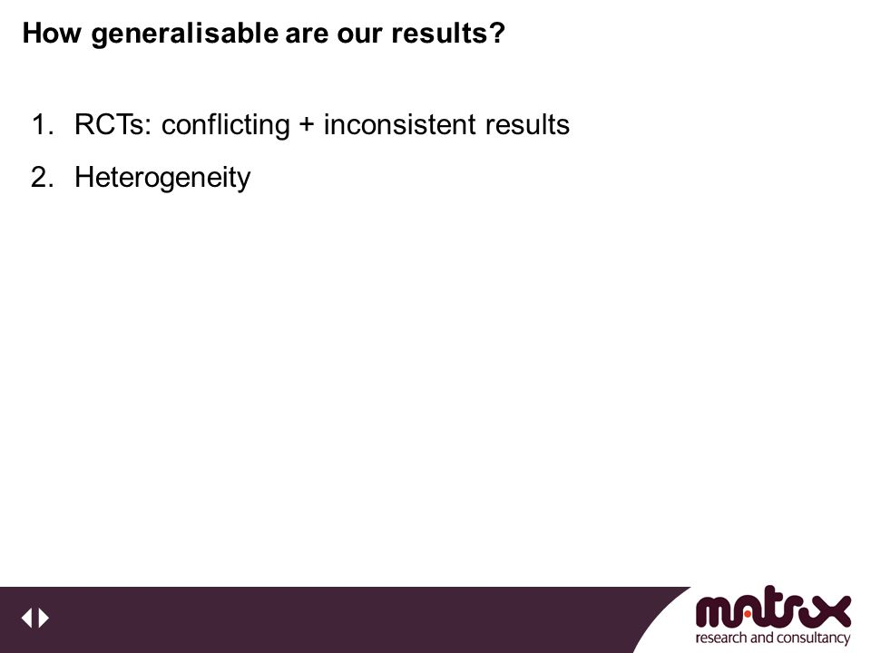 How generalisable are our results 1.RCTs: conflicting + inconsistent results 2.Heterogeneity