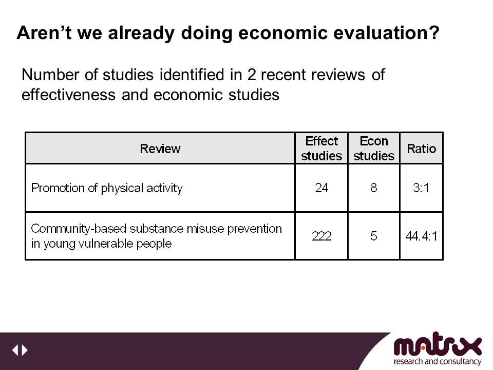 Aren't we already doing economic evaluation.