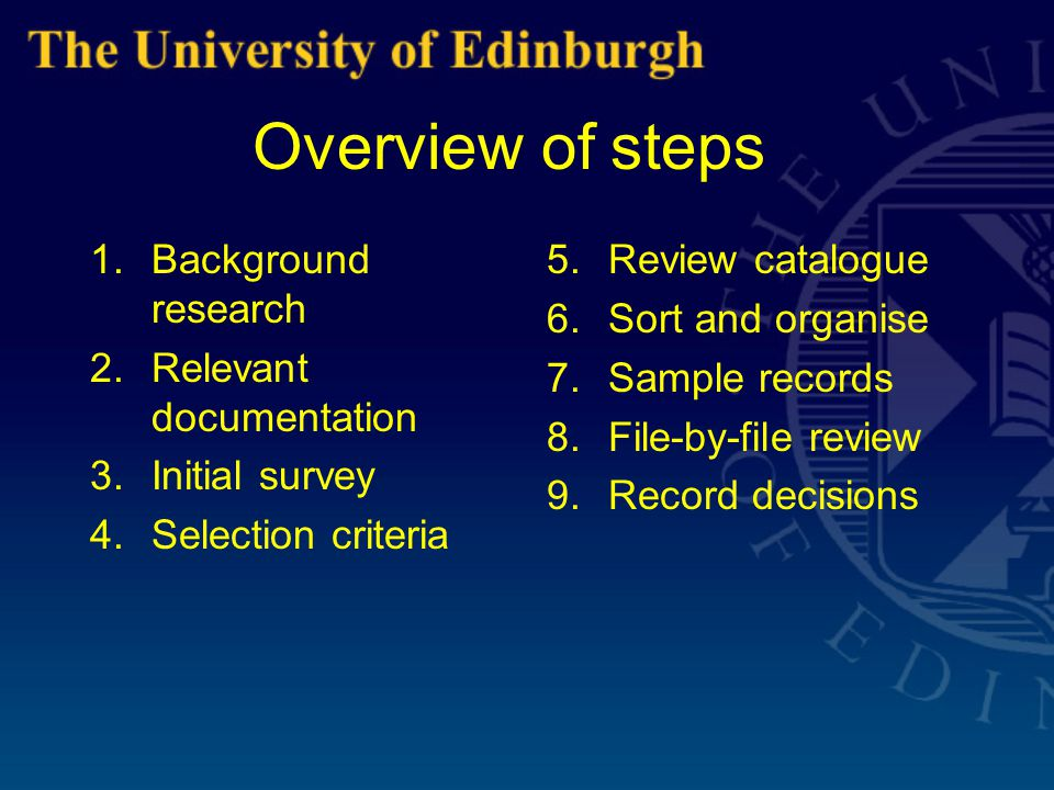 Overview of steps 1.Background research 2.Relevant documentation 3.Initial survey 4.Selection criteria 5.Review catalogue 6.Sort and organise 7.Sample records 8.File-by-file review 9.Record decisions