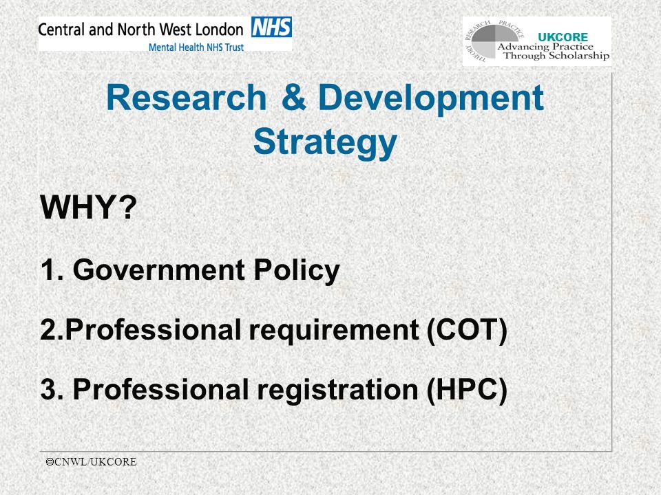 UKCORE  CNWL/UKCORE Research & Development Strategy WHY.