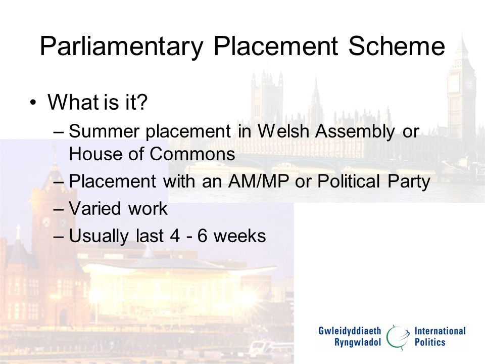 Parliamentary Placement Scheme What are we looking for.