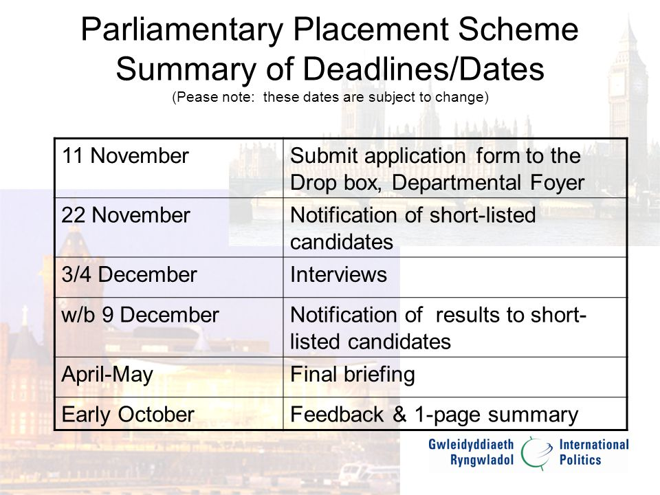 Parliamentary Placement Scheme Student Feedback