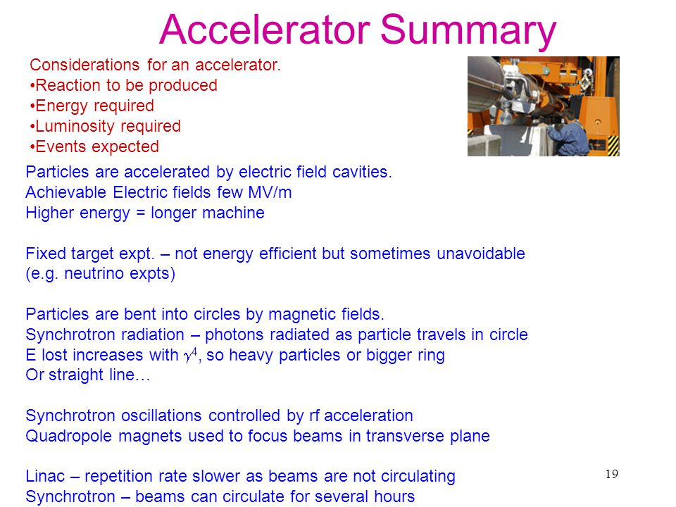 19 Accelerator Summary Considerations for an accelerator.